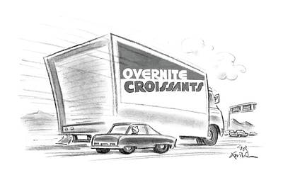 Delivering Drawing - New Yorker February 17th, 1986 by Ed Fisher