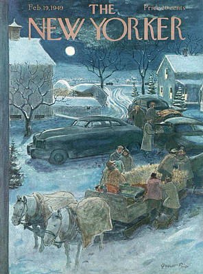 Hay Rides Painting - New Yorker February 19th, 1949 by Garrett Price