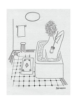 Model Drawing - New Yorker February 19th, 1949 by Saul Steinberg