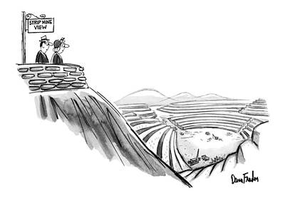 Mountain View Drawing - New Yorker February 19th, 1972 by Dana Fradon