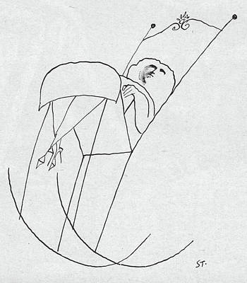 Rocking Chairs Drawing - New Yorker February 1st, 1958 by Saul Steinberg