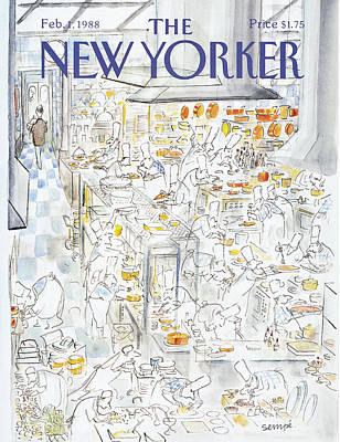 Cooking Painting - New Yorker February 1st, 1988 by Jean-Jacques Sempe