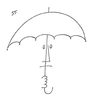 Face Drawing - New Yorker February 20th, 1954 by Saul Steinberg