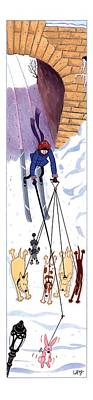 Skiing Drawing - New Yorker February 21st, 1994 by Carol La