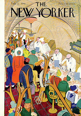 Crowd Painting - New Yorker February 22nd, 1941 by Alain