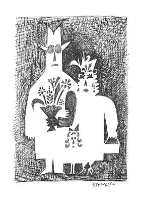 Connect Drawing - New Yorker February 22nd, 1958 by Saul Steinberg