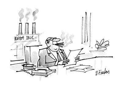Smokes Drawing - New Yorker February 22nd, 1988 by Dana Fradon