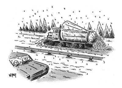Winter Roads Drawing - New Yorker February 22nd, 1999 by Christopher Weyan