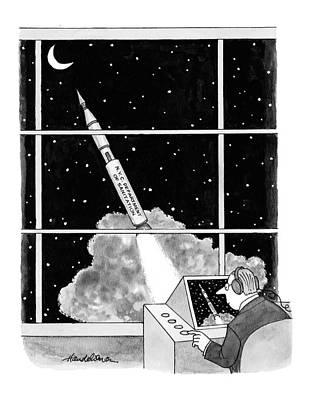 Rocket Drawing - New Yorker February 22nd, 1999 by J.B. Handelsman