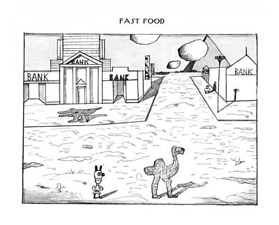 Fast Food Drawing - New Yorker February 23rd, 1976 by Saul Steinberg