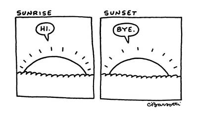 Sunrise Drawing - New Yorker February 23rd, 1987 by Charles Barsotti