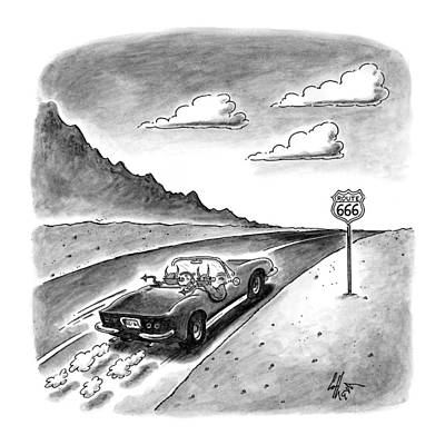 Sport Car Drawing - New Yorker February 23rd, 1998 by Frank Cotham