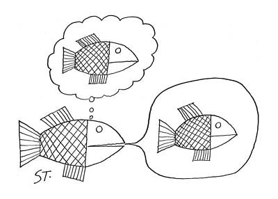 Fish Underwater Drawing - New Yorker February 24th, 1962 by Saul Steinberg