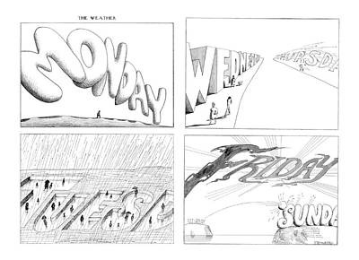 Sunny Day Drawing - New Yorker February 24th, 1975 by Saul Steinberg