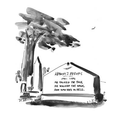 Headstone Drawing - New Yorker February 24th, 1997 by Donald Reilly