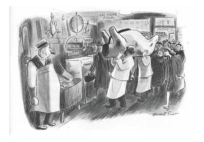 Carcass Drawing - New Yorker February 26th, 1944 by Garrett Price