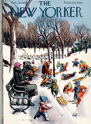 Winter Painting - New Yorker February 26th, 1955 by Arthur Getz