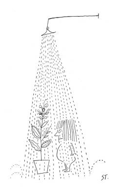 Little Girl Drawing - New Yorker February 26th, 1955 by Saul Steinberg