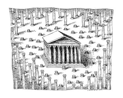 Greek Temple Drawing - New Yorker February 26th, 1990 by John O'Brien