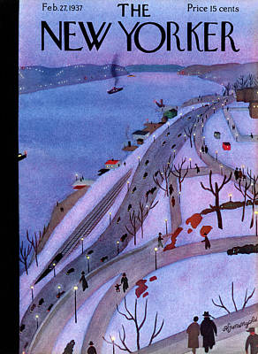 Night Painting - New Yorker February 27th, 1937 by Adolph K. Kronengold