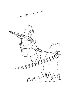 Skiing Drawing - New Yorker February 27th, 1943 by Garrett Price