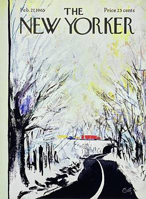 Winter Landscape Painting - New Yorker February 27th 1965 by Arthur Getz