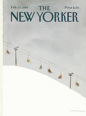 Ski Painting - New Yorker February 27th, 1984 by Abel Quezada