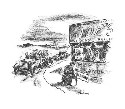 Hot Dog Stand Drawing - New Yorker February 28th, 1942 by Alan Dunn