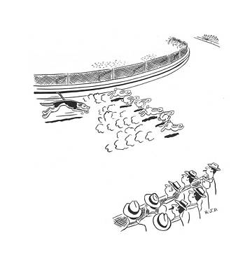 Dog Race Track Drawing - New Yorker February 28th, 1942 by Robert J. Day