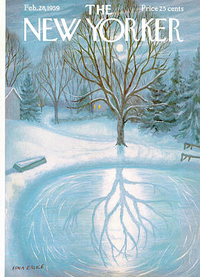 Winter Painting - New Yorker February 28th, 1959 by Edna Eicke