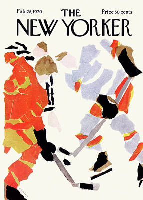 Hockey Player Painting - New Yorker February 28th, 1970 by James Stevenson