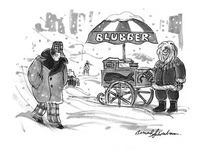 Snow Storm Drawing - New Yorker February 28th, 1994 by Bernard Schoenbaum
