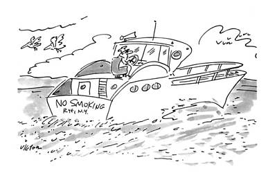 Boats In Water Drawing - New Yorker February 28th, 1994 by Dean Vietor