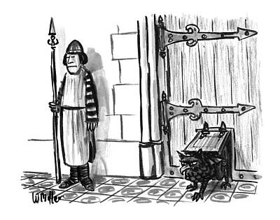 Castle Gate Drawing - New Yorker February 28th, 1994 by Warren Miller