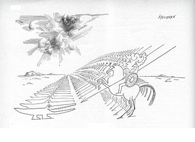 Alligator Drawing - New Yorker February 29th, 1964 by Saul Steinberg