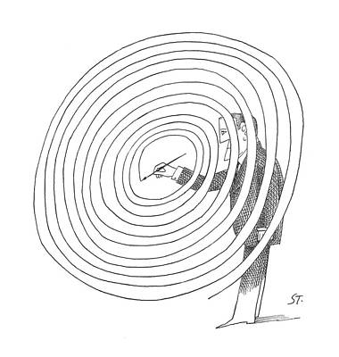 Sketching Drawing - New Yorker February 2nd, 1963 by Saul Steinberg
