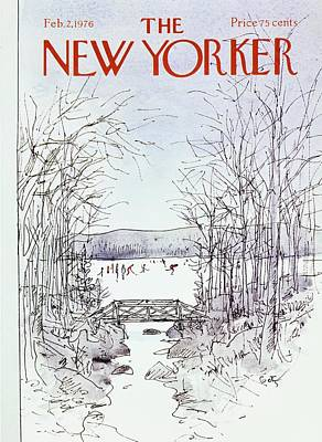 Winter Landscape Painting - New Yorker February 2nd 1976 by Arthur Getz