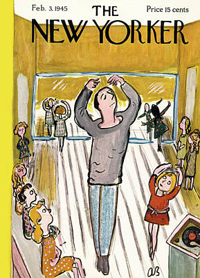 Child Dancers Painting - New Yorker February 3rd, 1945 by Abe Birnbaum