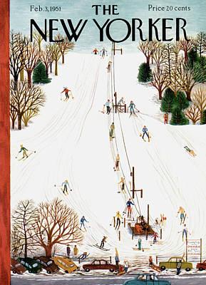 Winter Sports Painting - New Yorker February 3rd, 1951 by Ilonka Karasz