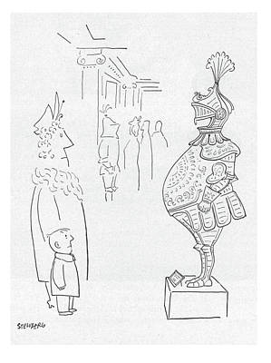 Knight Drawing - New Yorker February 3rd, 1951 by Saul Steinberg
