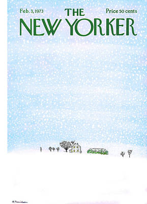 Winter Storm Painting - New Yorker February 3rd, 1973 by Raymond Davidson