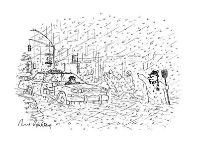 Snowstorm Drawing - New Yorker February 3rd, 1997 by Mort Gerberg