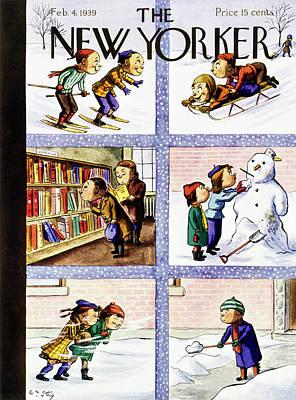 Winter Scene Painting - New Yorker February 4 1939 by William Steig