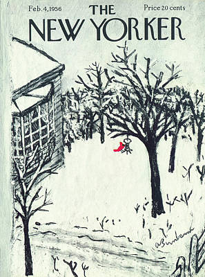 Winter Snow Painting - New Yorker February 4th, 1956 by Abe Birnbaum