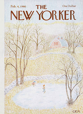 Pond Hockey Painting - New Yorker February 4th, 1980 by Charles E Martin