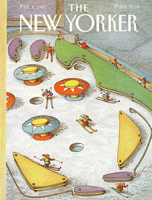 Skiing Painting - New Yorker February 4th, 1991 by John O'Brien