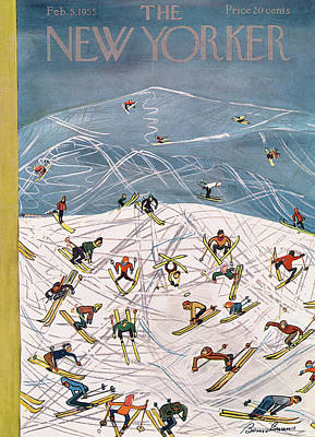 Skiing Painting - New Yorker February 5th, 1955 by Ludwig Bemelmans