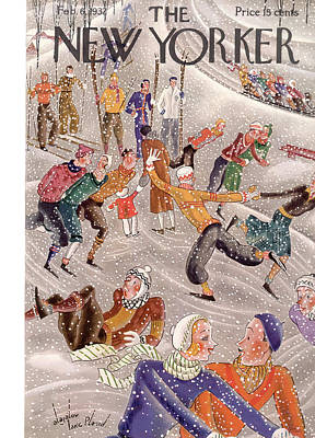 Winter Fun Painting - New Yorker February 6th, 1932 by Constantin Alajalov