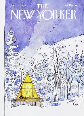 Winter Painting - New Yorker February 6th 1978 by Arthur Getz