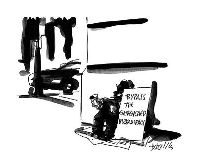 Street Drawing - New Yorker February 6th, 1995 by Donald Reilly